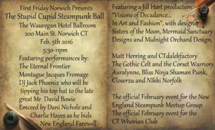 A delightful night of Steampunk, Goth, Whovian and Muggle mingling at the Wauregan Hotel Ballroom in Norwich, Connecticut